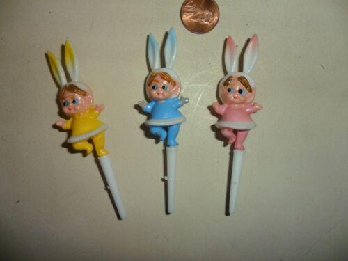 cupcake picks Vintage Girl Elf with Rabbit Ears Plastic Miniature