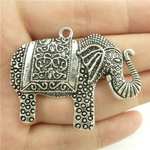 15127*5PCS Argent Vintage Animal Grand Mignon Éléphant Pendentif Alliage Antique