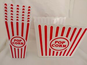 Reuseable Popcorn Plastic Containers Bowl Movie Theater Style Red White Set Lot