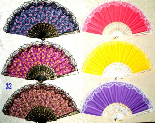 Lot of 6 TINY DAISIES Handing Fan Assorted Color GOOD QUALITY Folding Dance Fan