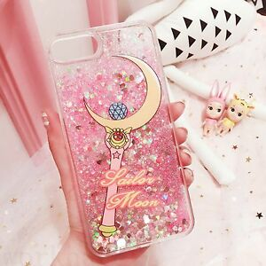 size 40 1a3a3 b215c Details about New Cute Cartoon Sailor Moon Liquid Glitter Soft Case cover  for iPhone 7 Plus 6S