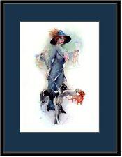 English Print Borzoi Dachshund Puppy Dog Victorian Lady Picture Poster Art