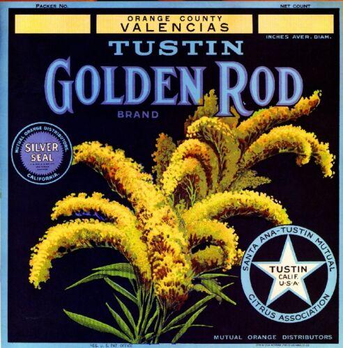 Tustin Orange County Golden Rod Orange Citrus Fruit Crate Label Art Print