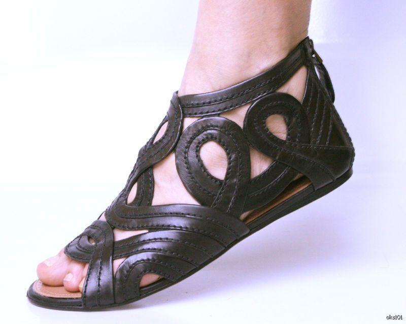 Nuevo  1530 Alaia Alaia Alaia recorte atrás logotipo cremallera Gladiador Flats zapatos 39.5 9.5 - increíble  marcas de diseñadores baratos