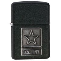 Zippo Windproof Black Crackle Lighter With U.S. Army Emblem, # 28583, New In Box
