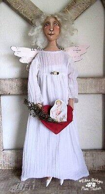 "*NEW* ""CLOTH FOLK ART DOLL PATTERN  ""ANGELIC ANGEL ORNAMENT"" BY EDNA BRIDGES"