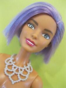 NEW 2014 Barbie Fashionistas Nude #18 Va-Va Violet Purple Bob Hair Doll Necklace