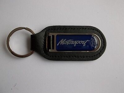 Ford Escort Motorsport Genuine Leather Keyring Keyfob Silver Blue PDQMotorsport