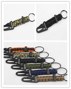Ourdoor Survival Parachute Cord Lanyard Keychain Carabiner Flint Fire Keychain