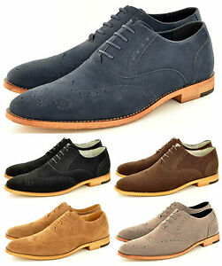 new mens faux suede casual formal lace up brogue fashion