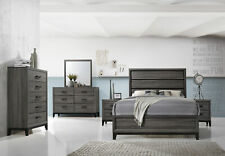 Kings Brand Furniture Ambroise King Size Bedroom Set 6 Pieces - Grey and  Black