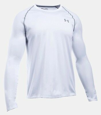 Under Armour Men/'s White UA Tech Raglan Long Sleeve Crew-Neck T-Shirt
