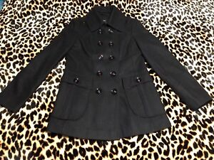 Miss-Sixty-Black-Pleated-Flare-Skirted-Peacoat-Double-Breasted-Coat-Size-L