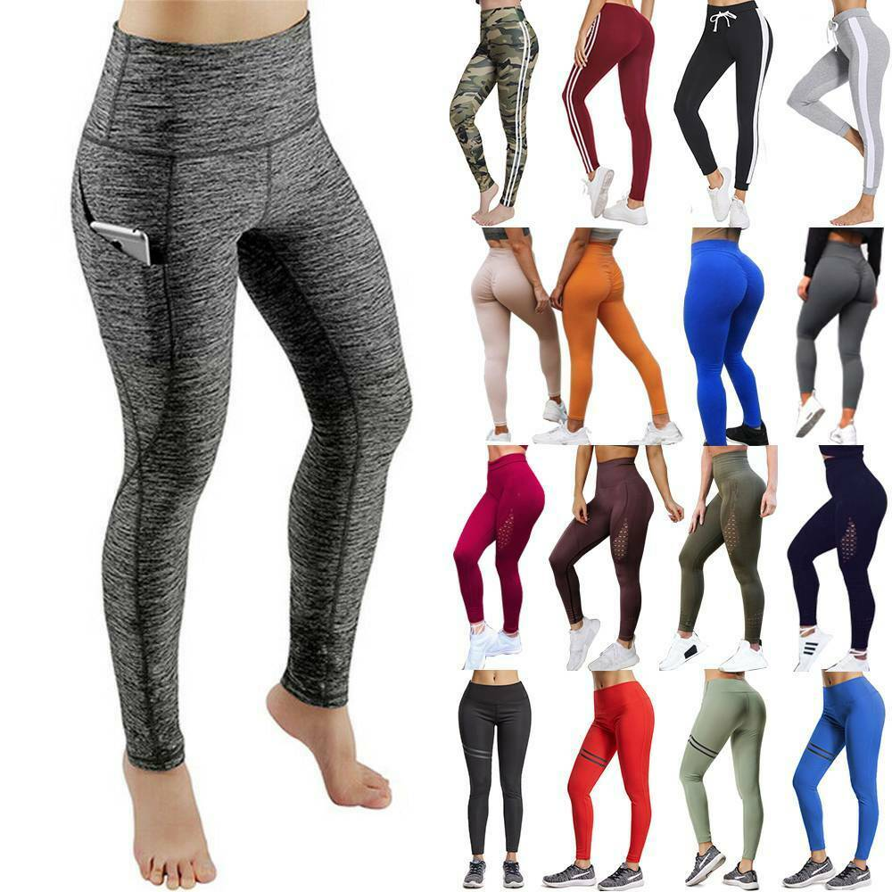 Women's Ruched Yoga Pants High Waisted Leggings Gym Sports Workout Trousers AC