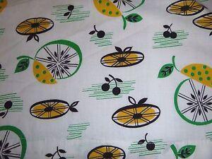 Vtg Mid Century Novelty Print Fabric Apron Stylized Atomic Lemons & Limes