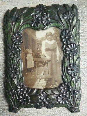 Antik Rahmen Halter Foto Blechschild Ziseliert 1900's
