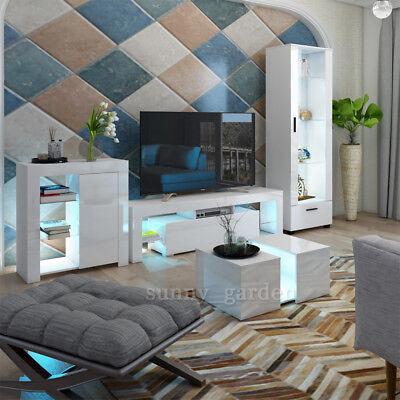 Details About Modern Matt White Gloss Living Room Furniture Tv Unit Display Cabinet Led Lights