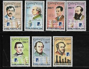 Guinea-Bissau-734-40-Chess-Masters-Mint-NH