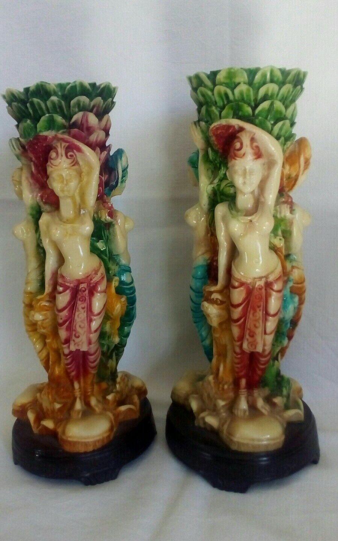Coppia di candelieri etnici africani cm 25 Portacandela soprammobile vintage