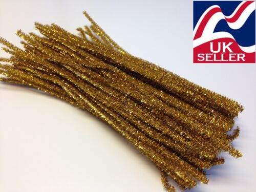 10-1000x DARK GOLD GLITTER chenillecraftstems pipecleaners 30cm long,6mmwide 12/""