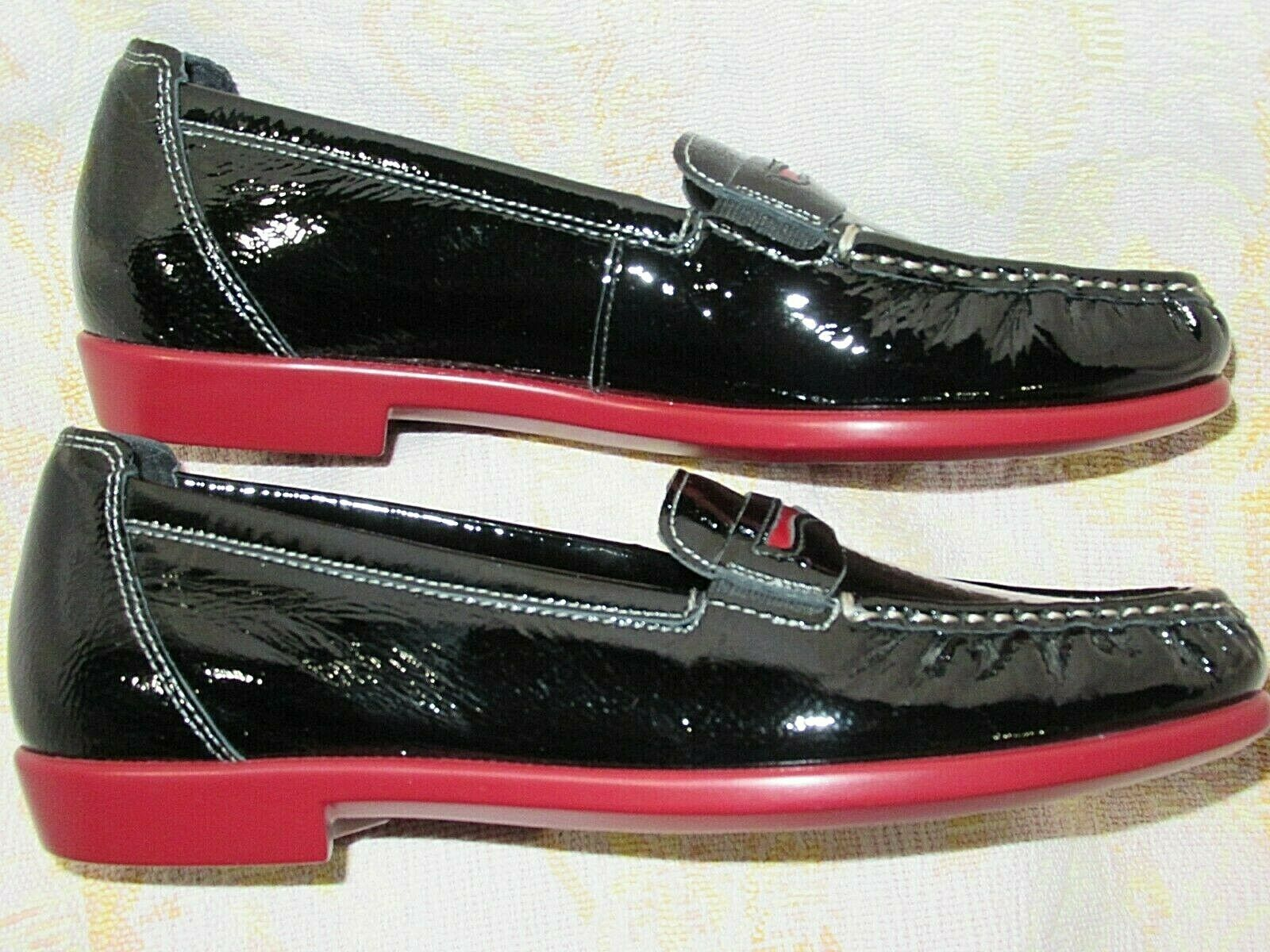 SAS Penny J nero Leather w rosso Soft Sole Loafers Loafers Loafers 7 M  ( 147.00)  NWOT USA  cc2046