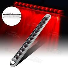 "17"" Smoke/Red 12LED Clearance Marker Light Bar Stop Turn Tail Brake Chrome bezel"