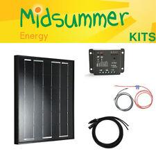 50W 12V Midsummer Energy All-black Mono Solar PV Charger Kit - Bosch Solar Cells