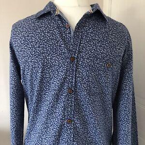Cosas-para-hombre-Blanco-Azul-Algodon-Chambray-impresion-de-hojas-camiseta-Talla-S-ajustada