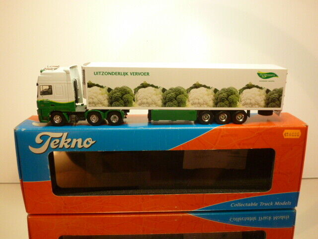 TEKNO HOLLAND DAF XF 85 480 TRUCK+TRAILER - the verdeERY 1 50 - VERY GOOD IN BOX