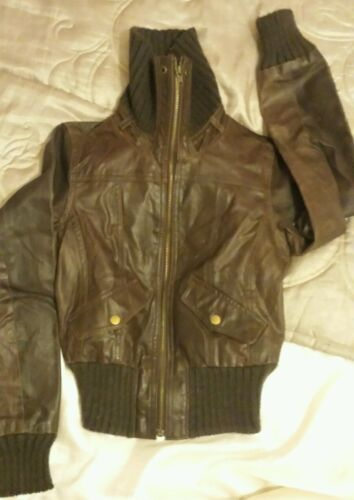 Real Ladies 8 New Girls Jacket Size Brown Look Leather tz6qFw