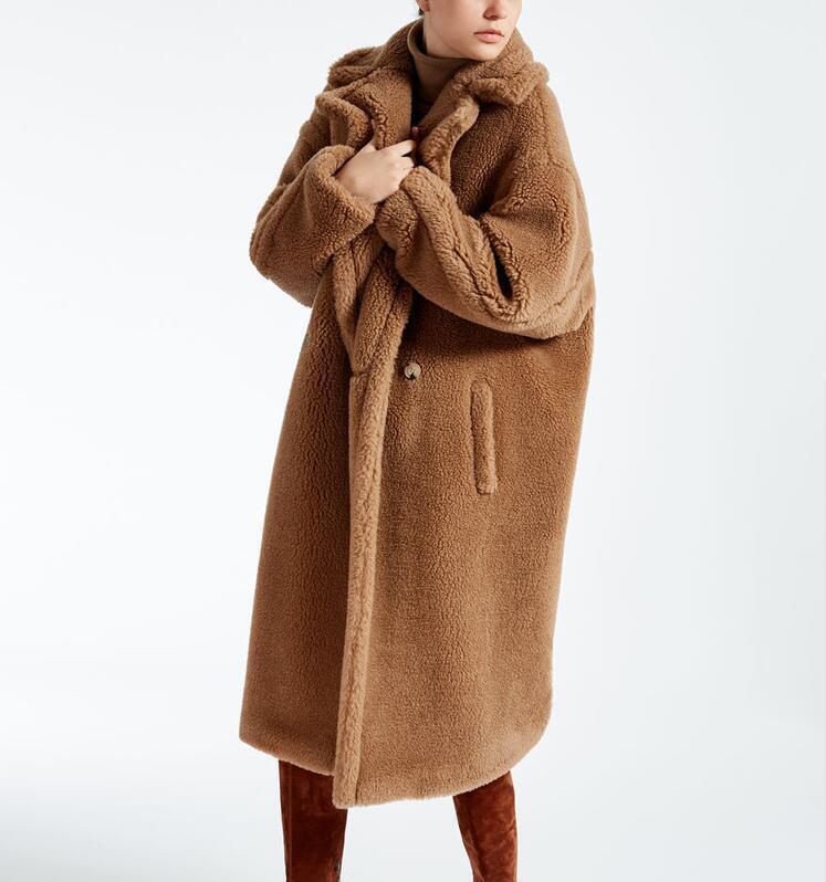Womens Faux Fur Teddy Bear Feel 2019 Luxury Oversized Alpaca and wool Long Coat