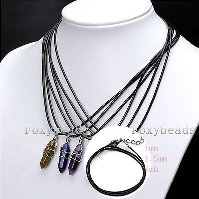 """LOT 1-2mm Wax Necklace Cord Rope Braided 18-19.5""""L Lobster Clasp DIY Making Gift"""