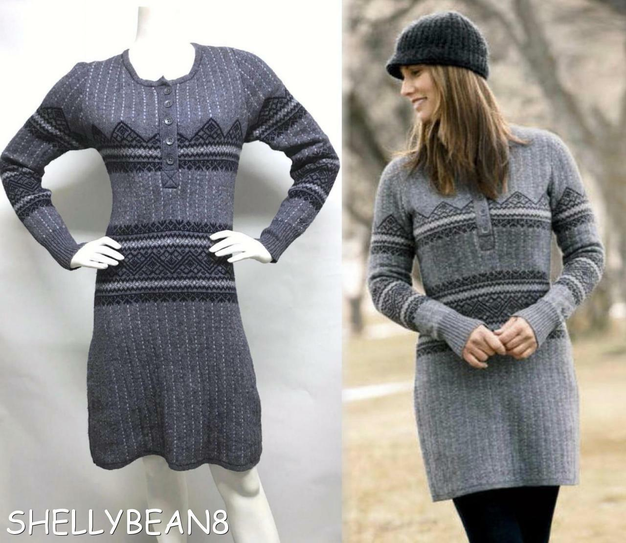 WOOLRICH Wool Blend FAIR ISLE Nordic Sweater DRESS Indigo Heather blueE S 4 6