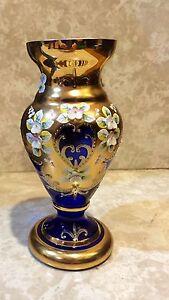 Beautiful Boheamian Czech Cobalt Blue Hand Cut Enamel Crystal Vase 24K Gold