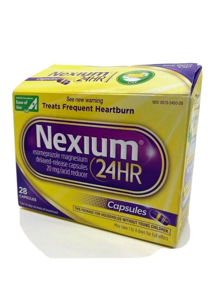 Nexium 24HR 28ct Capsules Heartburn Medicine Relief 20mg Acid Reducer Exp01/2023 1