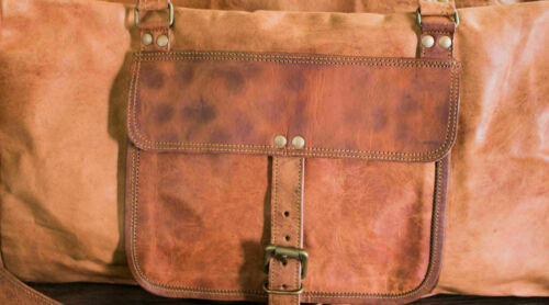 Mens Brown Vintage Genuine Travel Luggage Duffel Gym Bags Brown Goat Leather