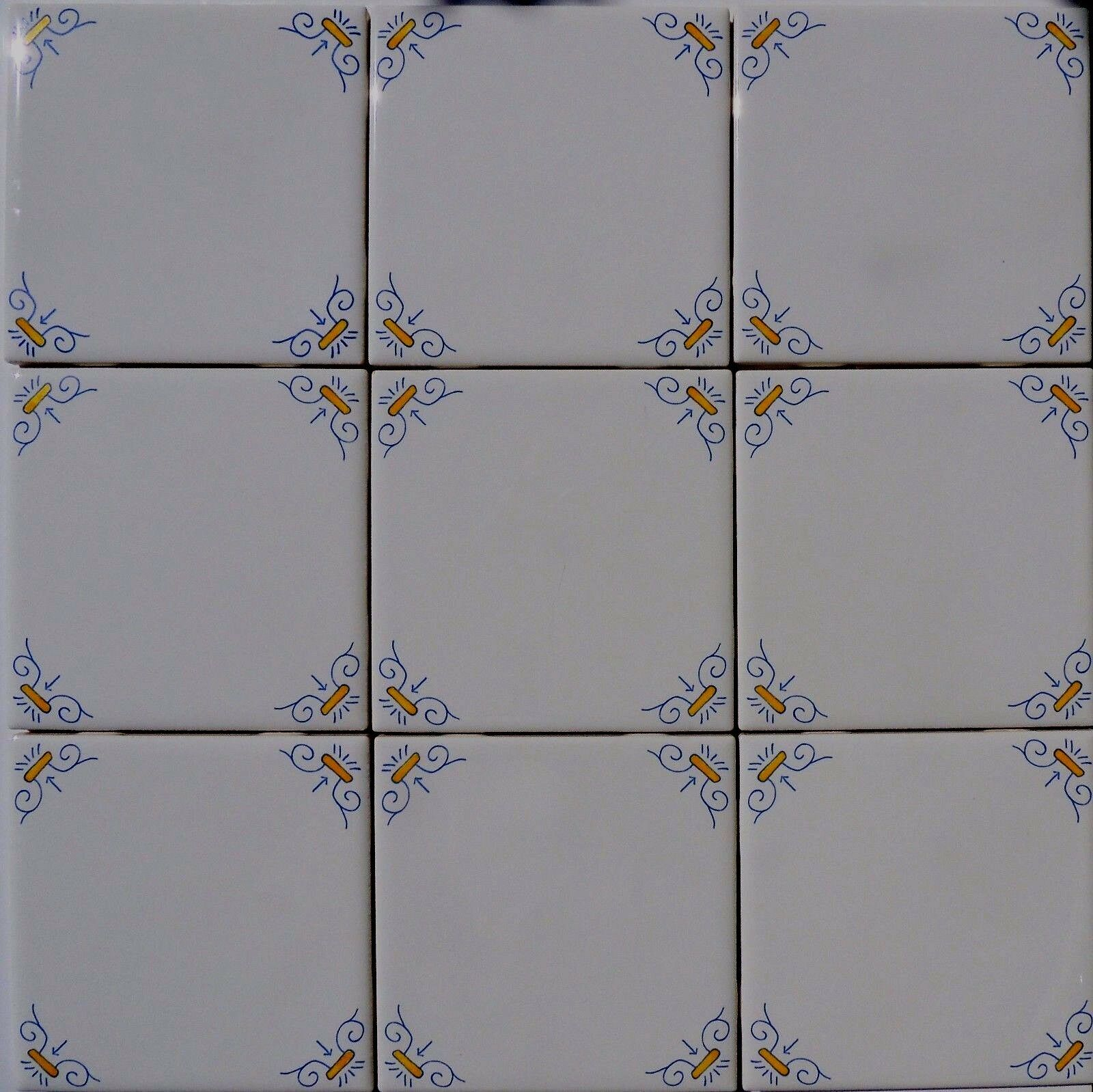 Delft Style Wall Tiles Blau and Gelb Oxen Corners (4 S F)