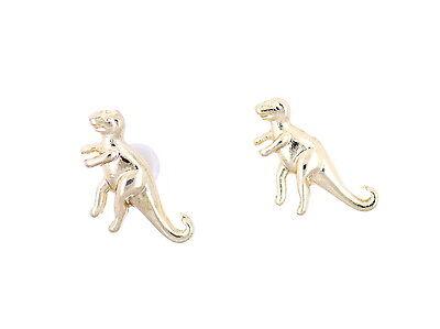Super cute gold tone dino dinosaur Acrocanthosaurus stud earrings