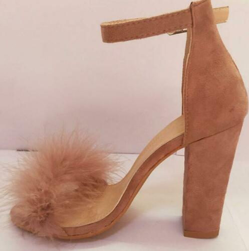 Fourrure Femmes Bride Cheville Boucle Bloc Moelleux Bout Ouvert Sandales Talon Haut Chaussures Ske15