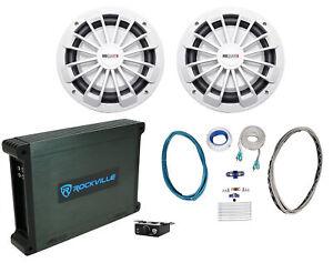 2-MB-Quart-NW1-254-10-034-600w-Slim-Marine-Subwoofer-Subs-Mono-Amplifier-Amp-Kit