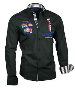 Herrenhemd-Herren-Hemd-Shirt-Oberhemd-bestickt-Binder-de-Luxe-81602-schwarz