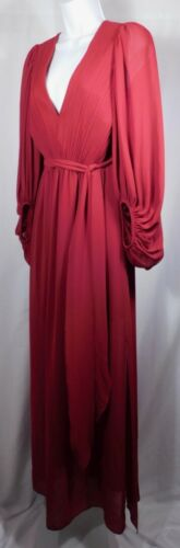 HALSTON HERITAGE Woman's Red Ruched VNeck Bishop S