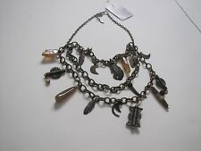 FREE PEOPLE NECKLACE TRIBAL THREE TIER BRONZE SPECTACULAR STATEMENT NEW