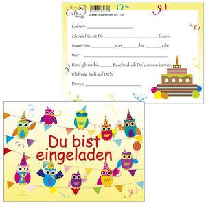 Das Bild Wird Geladen 10 Postkarten Einladungskarte Einladung Geburtstag  Kinder Feier Eulen