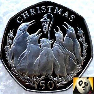2017 îles Falkland Noël 50p Pence Pingouins 950 Tirage Diffusé Coin-afficher Le Titre D'origine