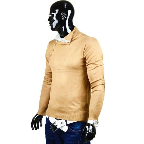 Herren Pullover Strick Japanstyle DE2 Sweat Shirt Stehkragen Sweatshirt