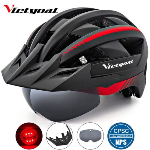 Victgoal Bicycle Helmet LED Moutain Road USB Rechargeable Light Cycling Helmet