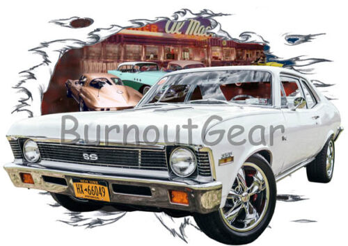 1972 White Chevy Nova b Custom Hot Rod Diner T-Shirt 72 Muscle Car Tees