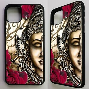 Buddha-head-buddhism-statue-floral-flower-graphic-case-cover-for-iphone-11