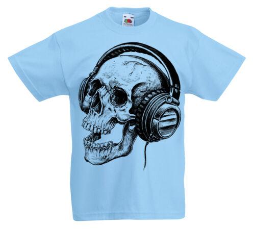 Cuffie Teschio T-shirt kids 3-13 anni di musica rock per bambini regalo z1